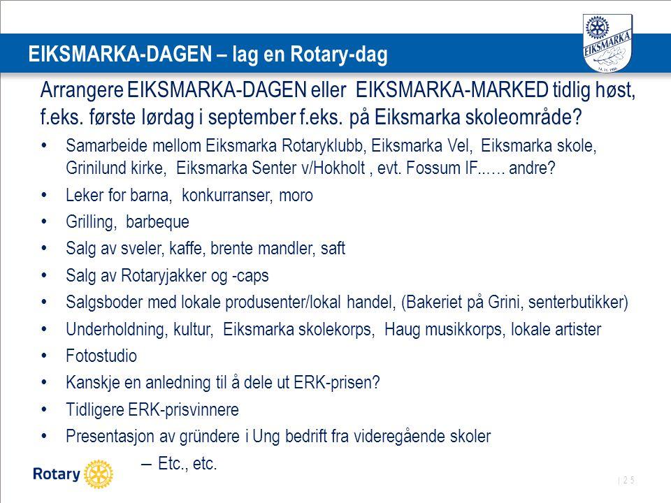 | 25 EIKSMARKA-DAGEN – lag en Rotary-dag Arrangere EIKSMARKA-DAGEN eller EIKSMARKA-MARKED tidlig høst, f.eks. første lørdag i september f.eks. på Eiks
