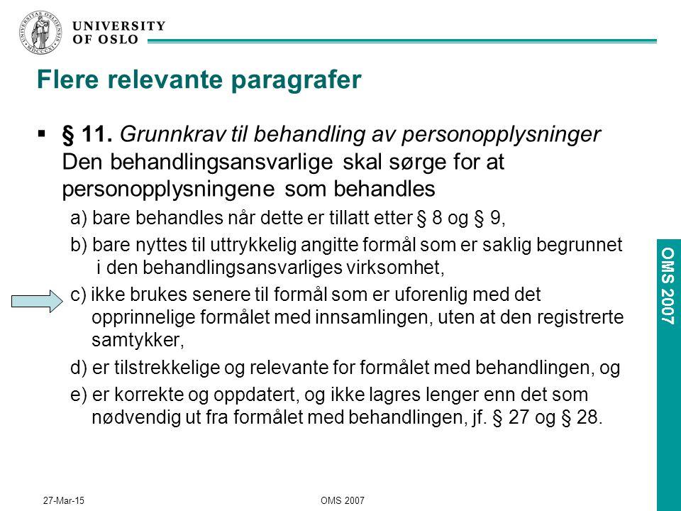 OMS 2007 27-Mar-15OMS 2007 Flere relevante paragrafer  § 11.