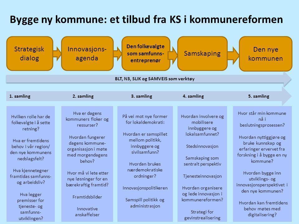 Bygge ny kommune: et tilbud fra KS i kommunereformen Samskaping Innovasjons- agenda Strategisk dialog Den folkevalgte som samfunns- entreprenør Den ny