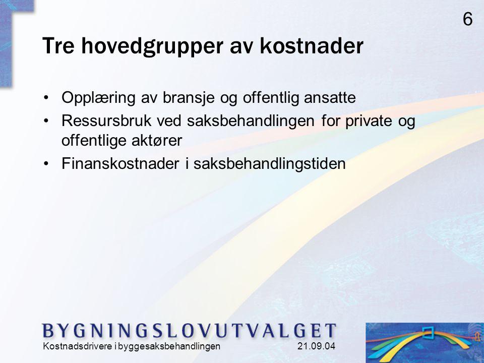 Kostnadsdrivere i byggesaksbehandlingen 21.09.04 6 Tre hovedgrupper av kostnader Opplæring av bransje og offentlig ansatte Ressursbruk ved saksbehandlingen for private og offentlige aktører Finanskostnader i saksbehandlingstiden