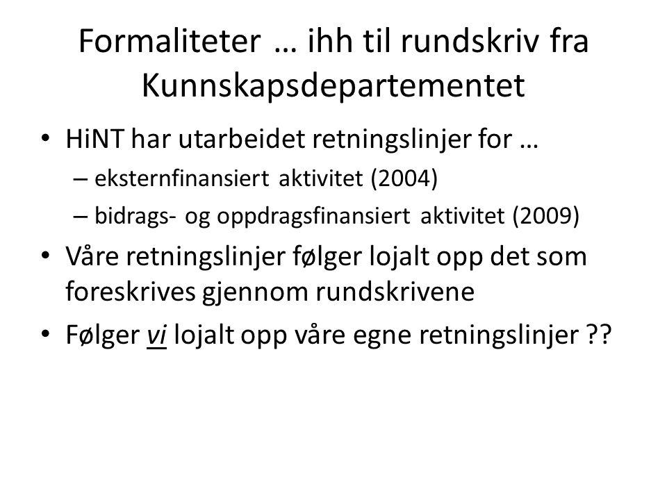 Formaliteter … ihh til rundskriv fra Kunnskapsdepartementet HiNT har utarbeidet retningslinjer for … – eksternfinansiert aktivitet (2004) – bidrags- o