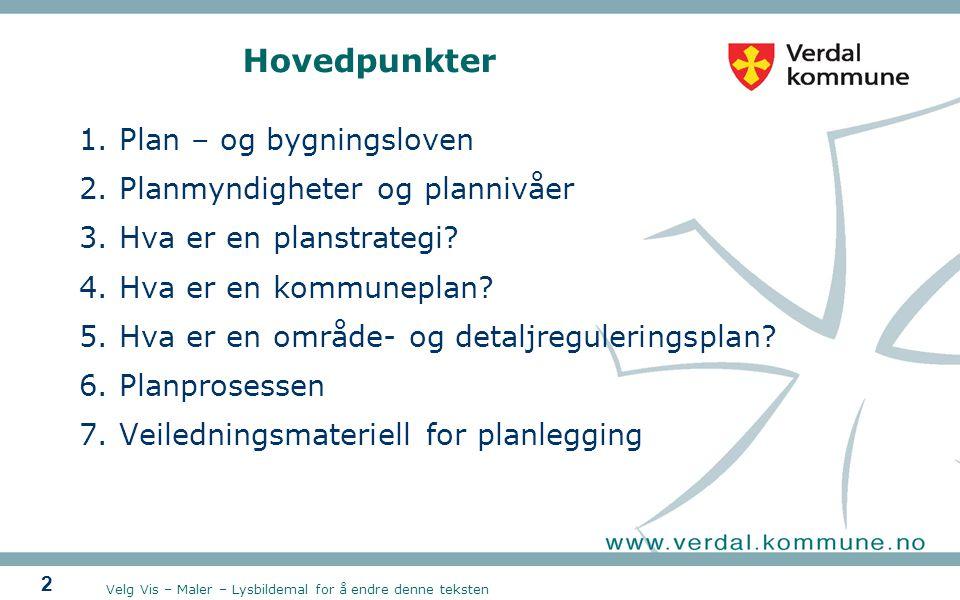 Velg Vis – Maler – Lysbildemal for å endre denne teksten 2 Hovedpunkter 1.