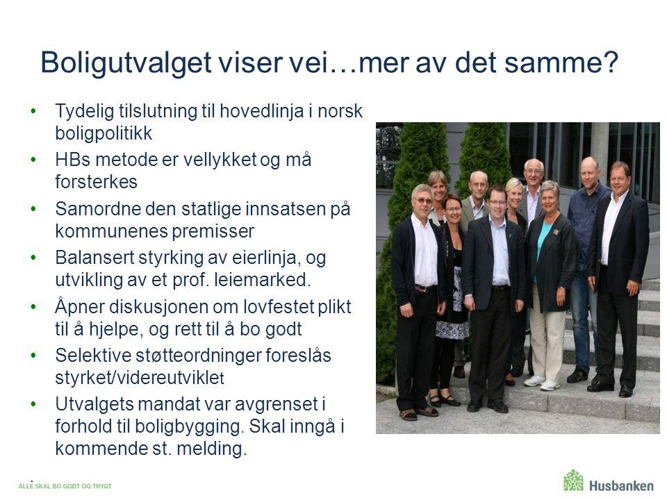 Boligutvalget viser vei…mer av det samme? Tydelig tilslutning til hovedlinja i norsk boligpolitikk HBs metode er vellykket og må forsterkes Samordne d