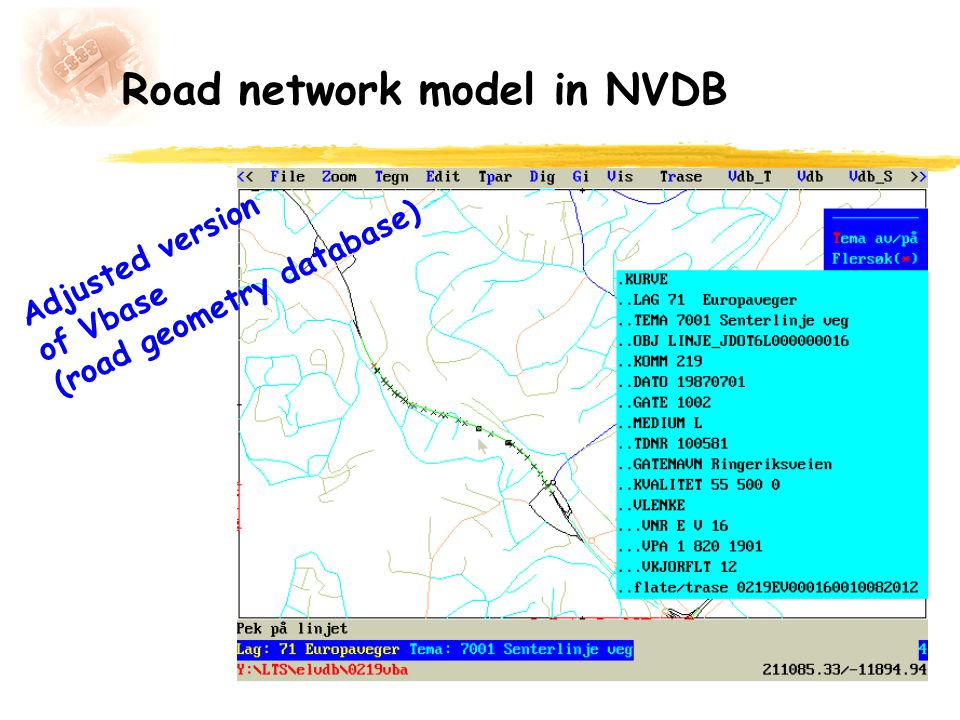 Road network model in NVDB Adjusted version of Vbase (road geometry database)