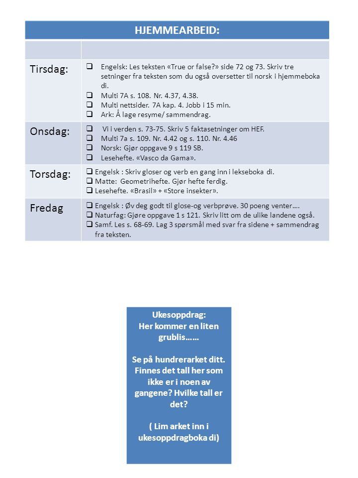 HJEMMEARBEID: Tirsdag:  Engelsk: Les teksten «True or false?» side 72 og 73. Skriv tre setninger fra teksten som du også oversetter til norsk i hjemm