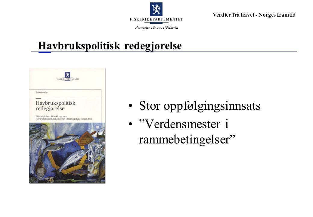 Norwegian Ministry of Fisheries Verdier fra havet - Norges framtid Havbrukspolitisk redegjørelse Stor oppfølgingsinnsats Verdensmester i rammebetingelser