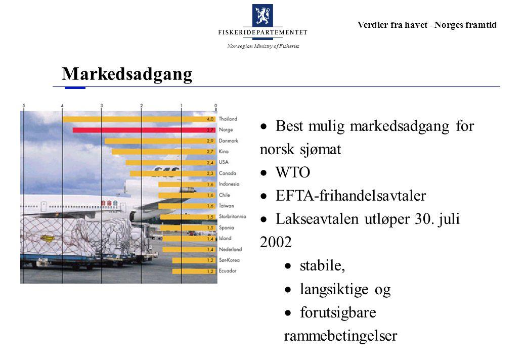 Norwegian Ministry of Fisheries Verdier fra havet - Norges framtid Markedsadgang  Best mulig markedsadgang for norsk sjømat  WTO  EFTA-frihandelsavtaler  Lakseavtalen utløper 30.