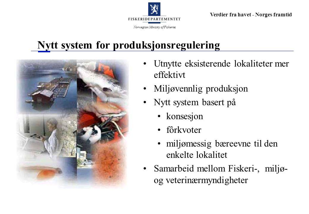 Norwegian Ministry of Fisheries Verdier fra havet - Norges framtid Nytt system for produksjonsregulering Utnytte eksisterende lokaliteter mer effektivt Miljøvennlig produksjon Nytt system basert på konsesjon fôrkvoter miljømessig bæreevne til den enkelte lokalitet Samarbeid mellom Fiskeri-, miljø- og veterinærmyndigheter