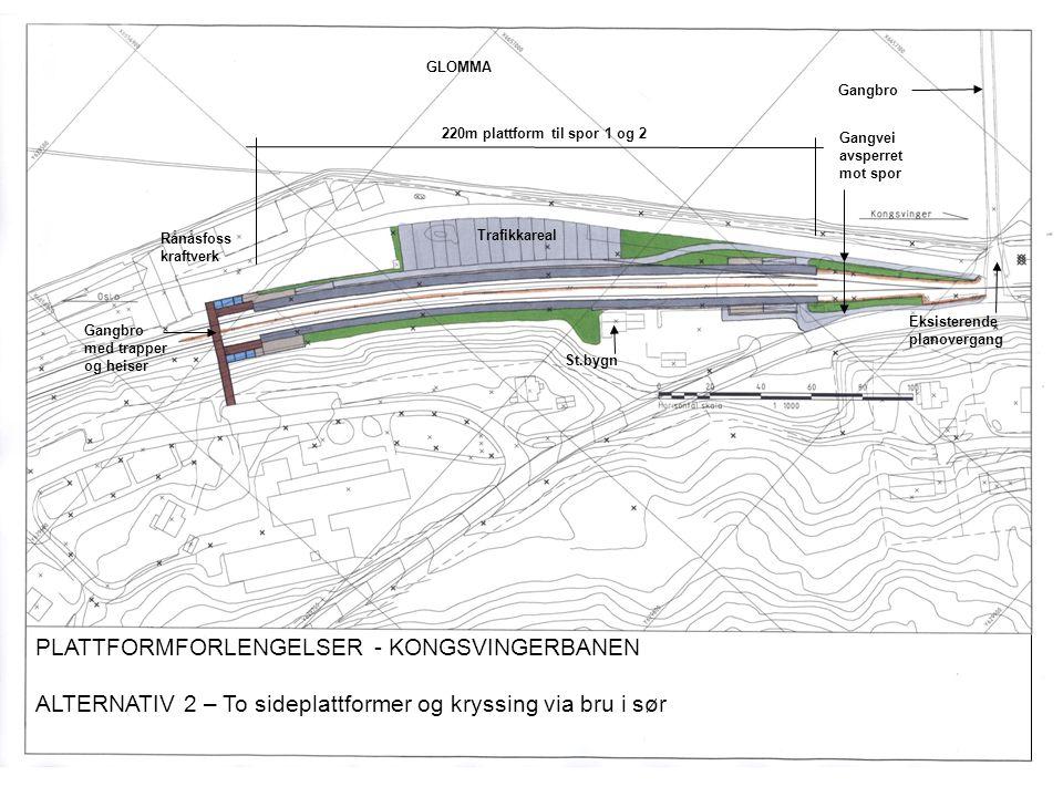 PLATTFORMFORLENGELSER - KONGSVINGERBANEN ALTERNATIV 2 – To sideplattformer og kryssing via bru i sør Gangbro 220m plattform til spor 1 og 2 Eksisteren