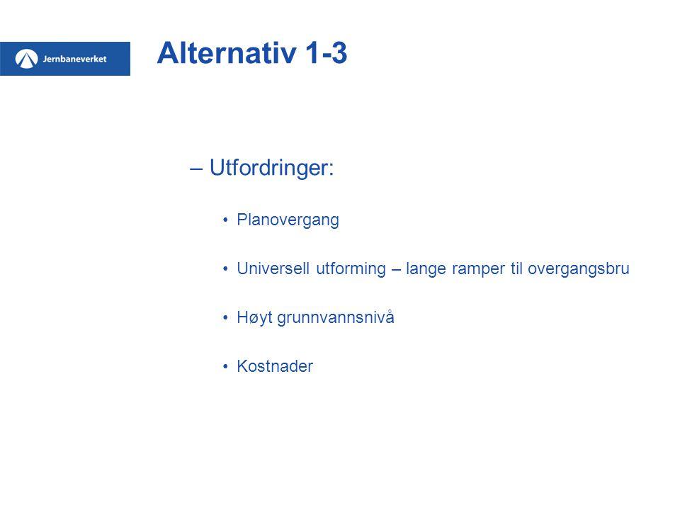 Alternativ 1-3 –Utfordringer: Planovergang Universell utforming – lange ramper til overgangsbru Høyt grunnvannsnivå Kostnader
