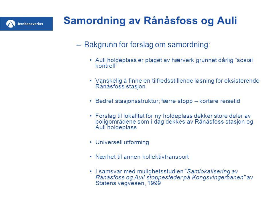 """Samordning av Rånåsfoss og Auli –Bakgrunn for forslag om samordning: Auli holdeplass er plaget av hærverk grunnet dårlig """"sosial kontroll"""" Vanskelig å"""