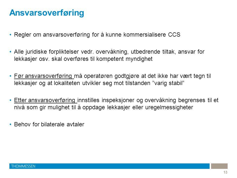 Ansvarsoverføring 13 Regler om ansvarsoverføring for å kunne kommersialisere CCS Alle juridiske forpliktelser vedr. overvåkning, utbedrende tiltak, an