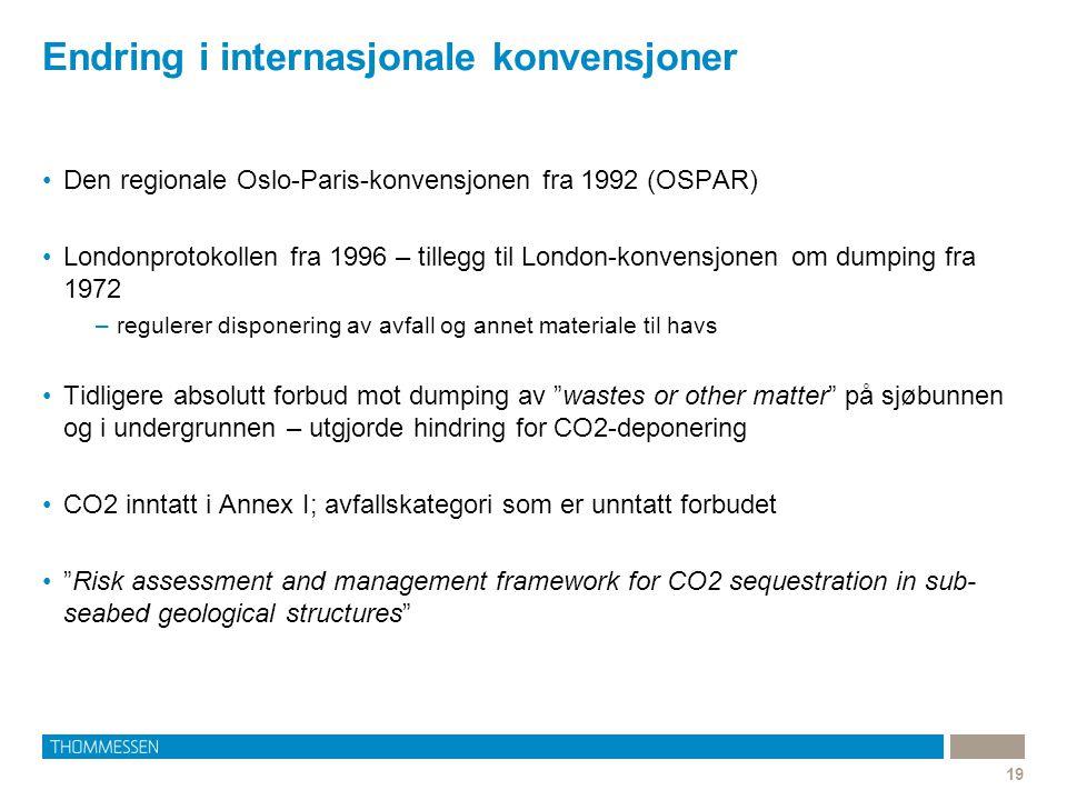 Endring i internasjonale konvensjoner 19 Den regionale Oslo-Paris-konvensjonen fra 1992 (OSPAR) Londonprotokollen fra 1996 – tillegg til London-konven