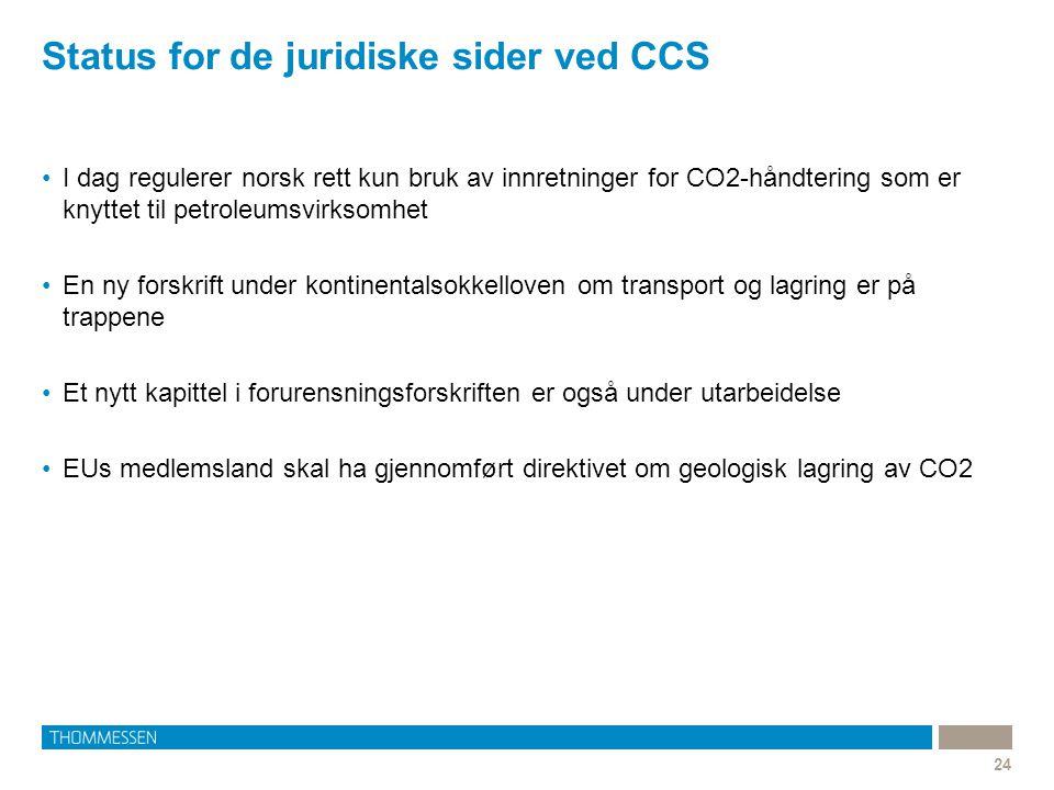 Status for de juridiske sider ved CCS 24 I dag regulerer norsk rett kun bruk av innretninger for CO2-håndtering som er knyttet til petroleumsvirksomhe