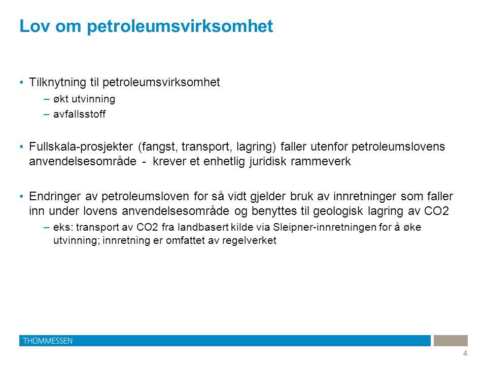 Lov om petroleumsvirksomhet 4 Tilknytning til petroleumsvirksomhet –økt utvinning –avfallsstoff Fullskala-prosjekter (fangst, transport, lagring) fall
