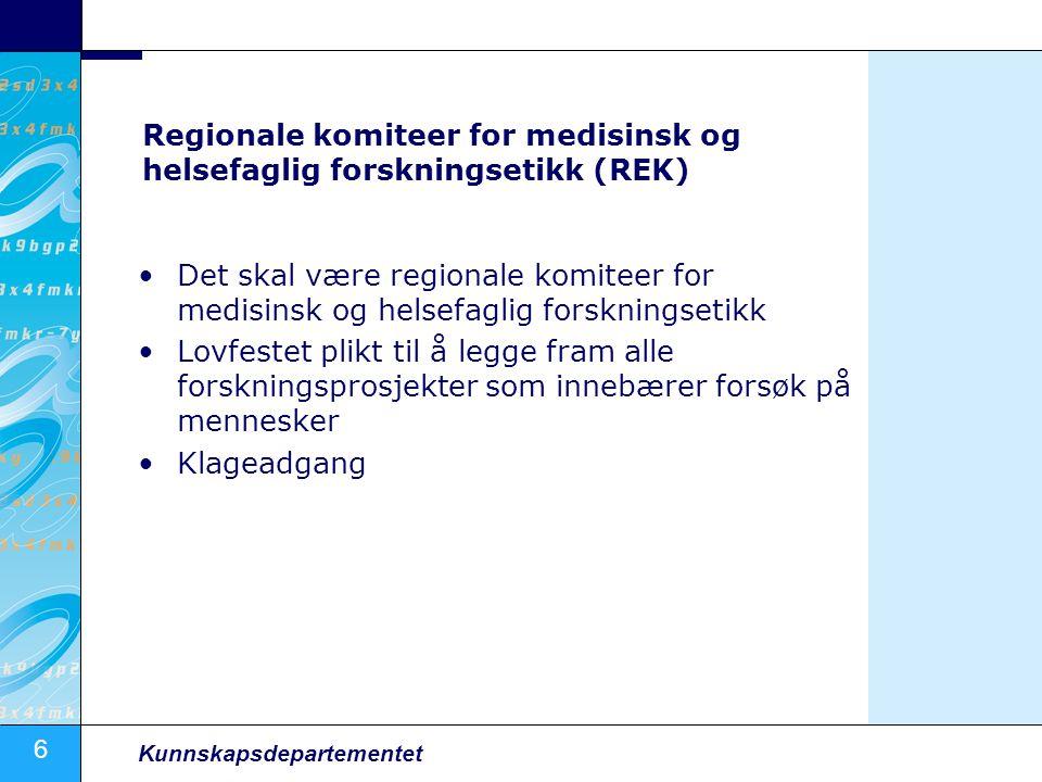 7 Kunnskapsdepartementet Nasjonale forskningsetiske komiteer Det skal være nasjonale forskningsetiske komiteer som dekker alle fagområder Rådgivende og forebyggende virksomhet Evaluering i regi av Norges forskningsråd