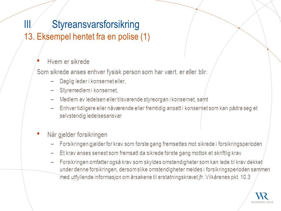 IIIStyreansvarsforsikring 13.