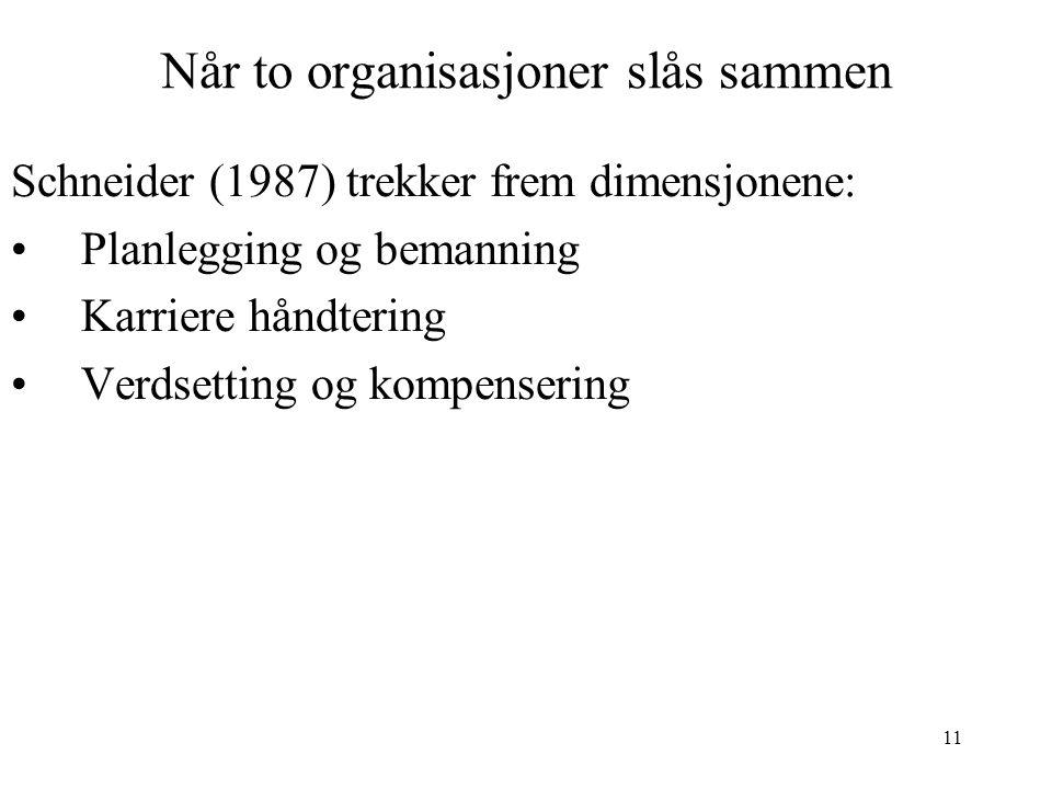 11 Når to organisasjoner slås sammen Schneider (1987) trekker frem dimensjonene: Planlegging og bemanning Karriere håndtering Verdsetting og kompenser