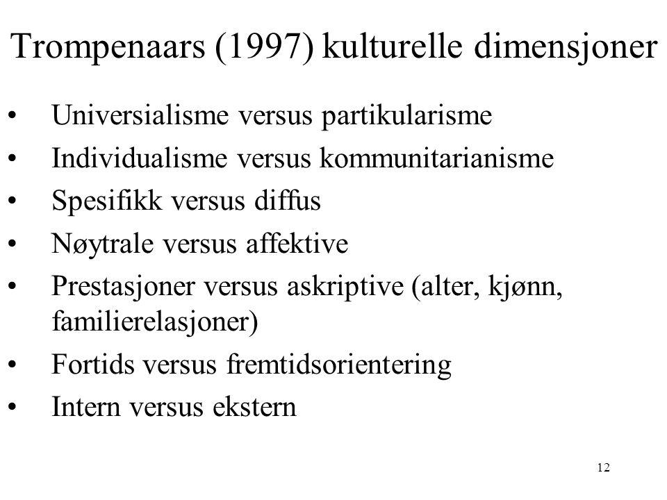 12 Trompenaars (1997) kulturelle dimensjoner Universialisme versus partikularisme Individualisme versus kommunitarianisme Spesifikk versus diffus Nøyt
