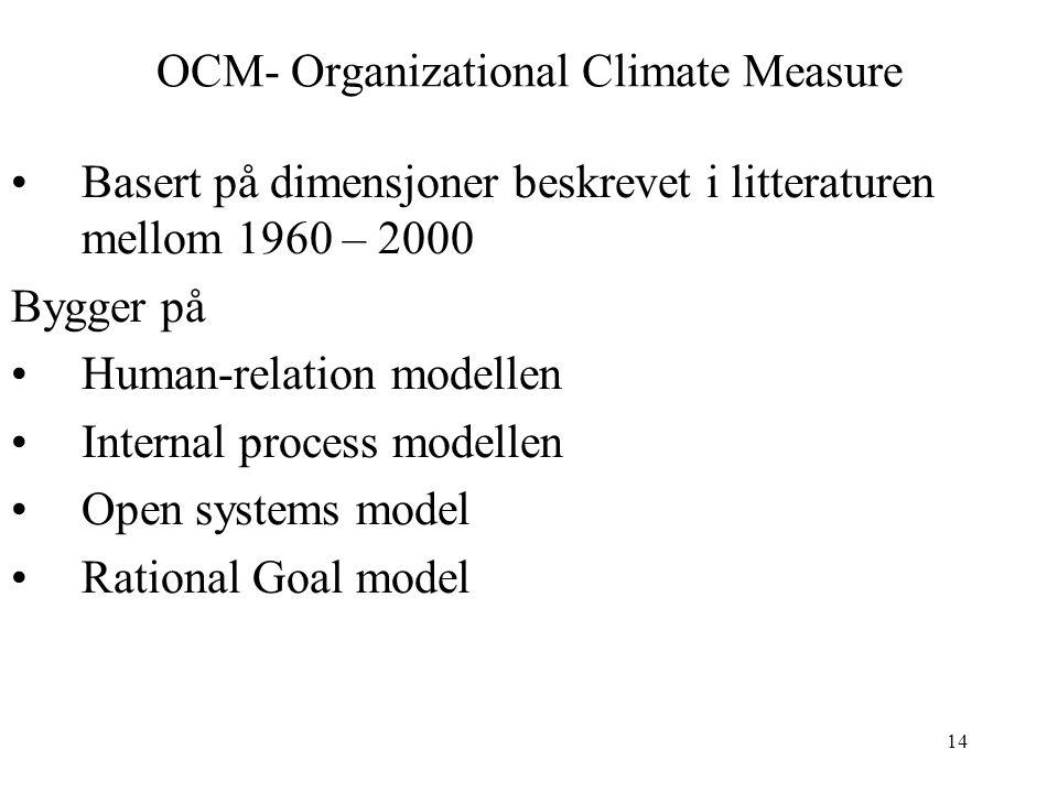 14 OCM- Organizational Climate Measure Basert på dimensjoner beskrevet i litteraturen mellom 1960 – 2000 Bygger på Human-relation modellen Internal pr