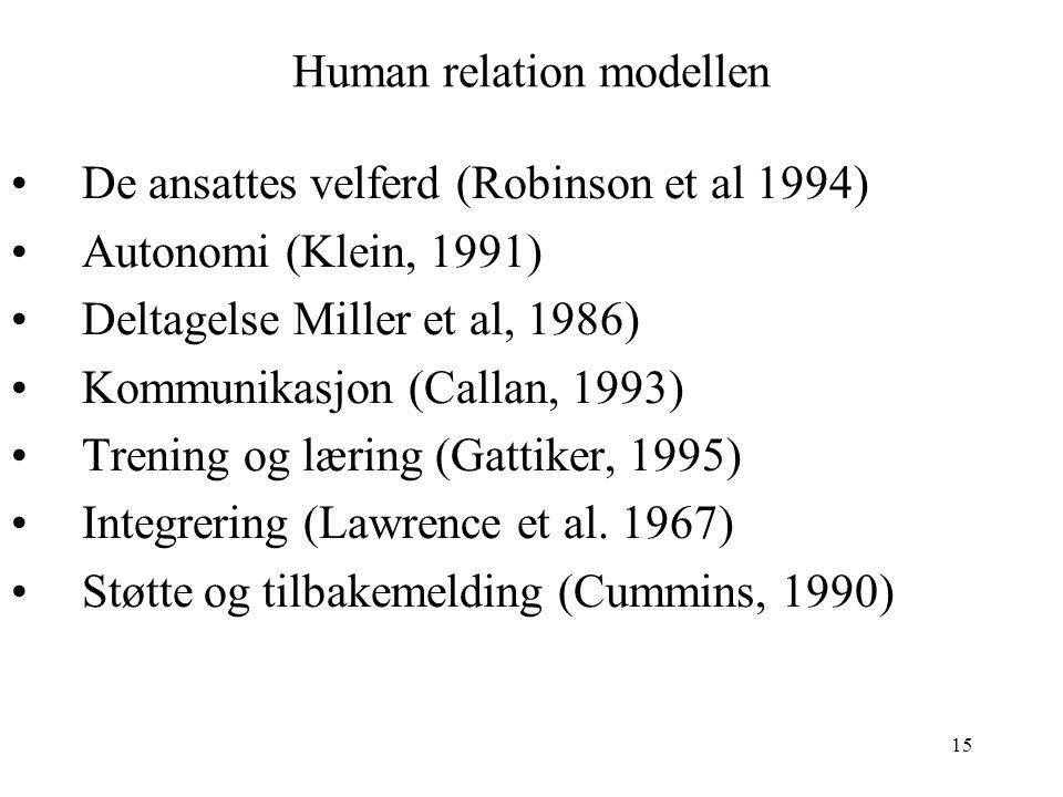 15 Human relation modellen De ansattes velferd (Robinson et al 1994) Autonomi (Klein, 1991) Deltagelse Miller et al, 1986) Kommunikasjon (Callan, 1993
