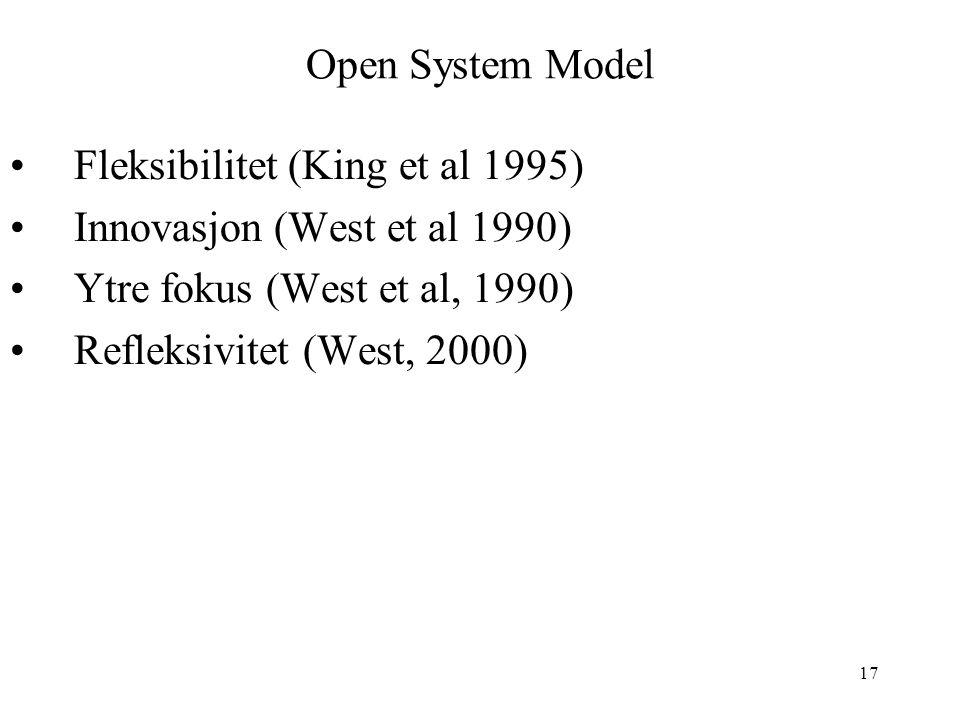 17 Open System Model Fleksibilitet (King et al 1995) Innovasjon (West et al 1990) Ytre fokus (West et al, 1990) Refleksivitet (West, 2000)