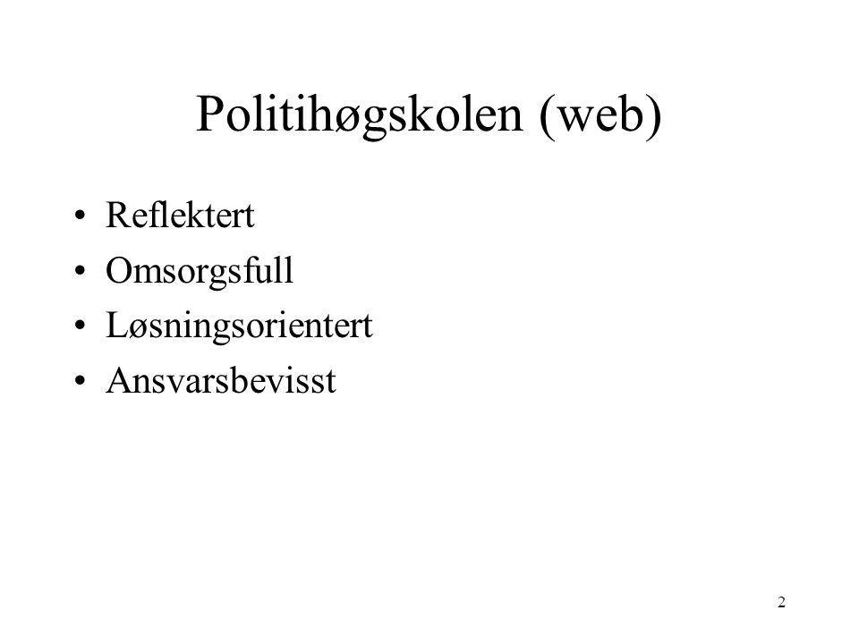 2 Politihøgskolen (web) Reflektert Omsorgsfull Løsningsorientert Ansvarsbevisst