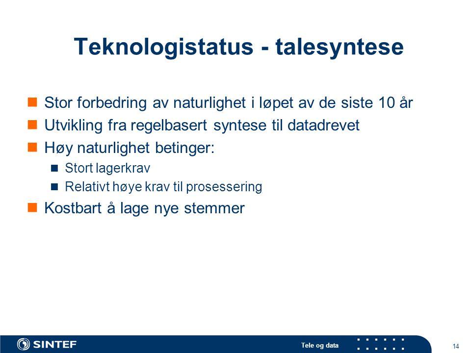 Tele og data 14 Teknologistatus - talesyntese Stor forbedring av naturlighet i løpet av de siste 10 år Utvikling fra regelbasert syntese til datadreve