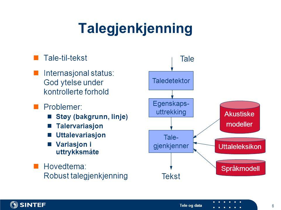 Tele og data 8 Talegjenkjenning Tale-til-tekst Internasjonal status: God ytelse under kontrollerte forhold Problemer: Støy (bakgrunn, linje) Talervari
