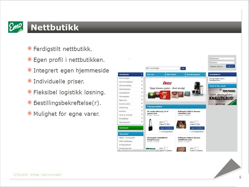 Nettbutikk Ferdigstilt nettbutikk. Egen profil i nettbutikken.