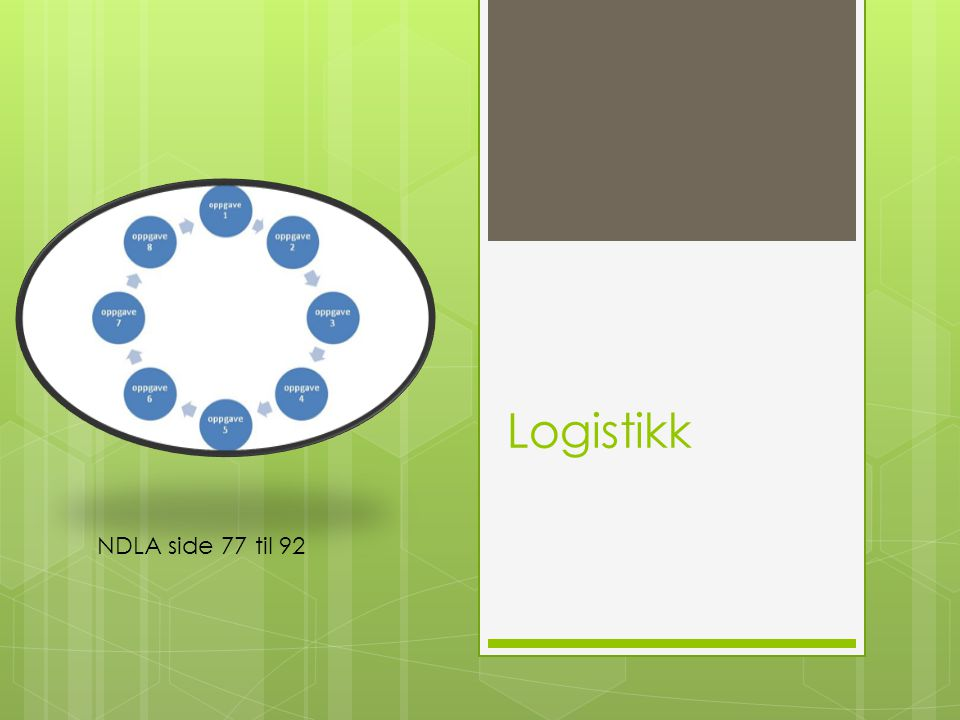 Kompetansemål - logistikk  beskrive logistikkfunksjonen i en virksomhet ved å gjøre rede for en rasjonell og sikker vareflyt fra innkjøp til gjenvinning