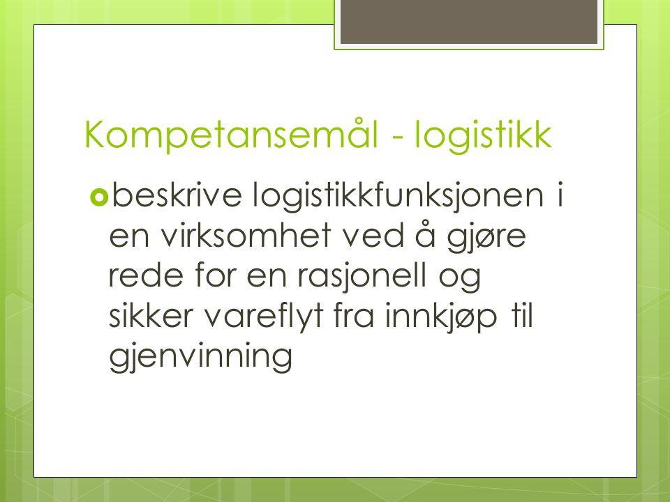 Kompetansemål - logistikk  beskrive logistikkfunksjonen i en virksomhet ved å gjøre rede for en rasjonell og sikker vareflyt fra innkjøp til gjenvinn