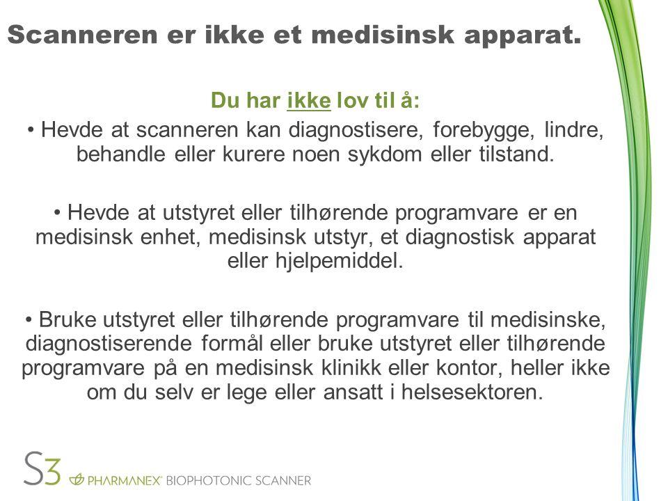 Scanneren er ikke et medisinsk apparat.