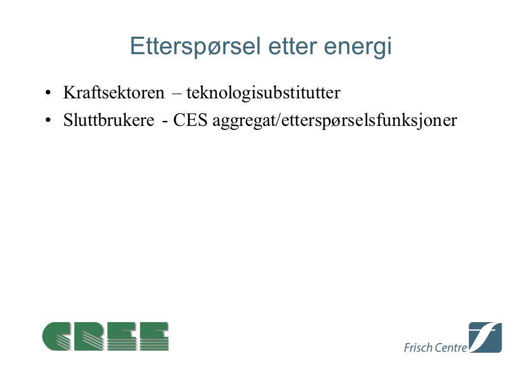 Etterspørsel etter energi Kraftsektoren – teknologisubstitutter Sluttbrukere - CES aggregat/etterspørselsfunksjoner