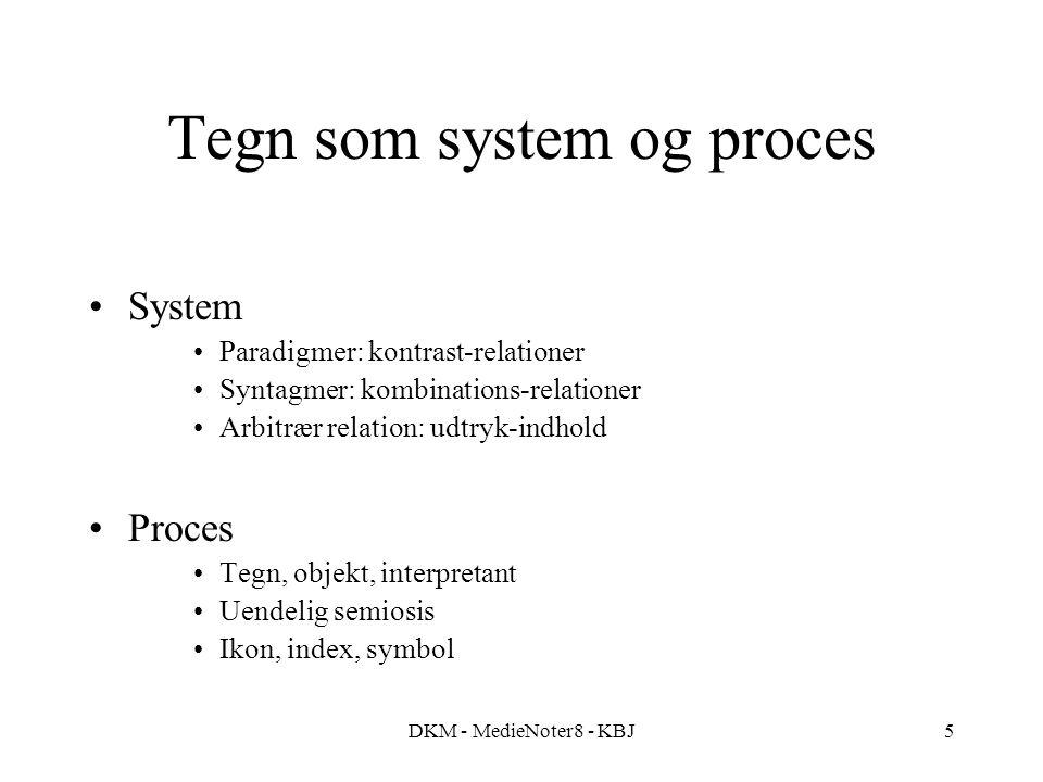 DKM - MedieNoter8 - KBJ5 Tegn som system og proces System Paradigmer: kontrast-relationer Syntagmer: kombinations-relationer Arbitrær relation: udtryk
