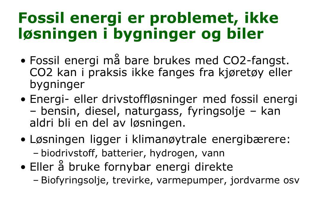 Fossil energi er problemet, ikke løsningen i bygninger og biler Fossil energi må bare brukes med CO2-fangst. CO2 kan i praksis ikke fanges fra kjøretø