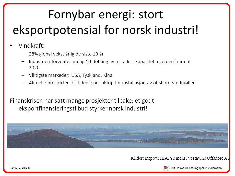 Alf Holmelid, næringspolitisk talsmann 240910, side 18 Fornybar energi: stort eksportpotensial for norsk industri.