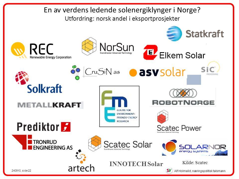 Alf Holmelid, næringspolitisk talsmann 240910, side 22 En av verdens ledende solenergiklynger i Norge.