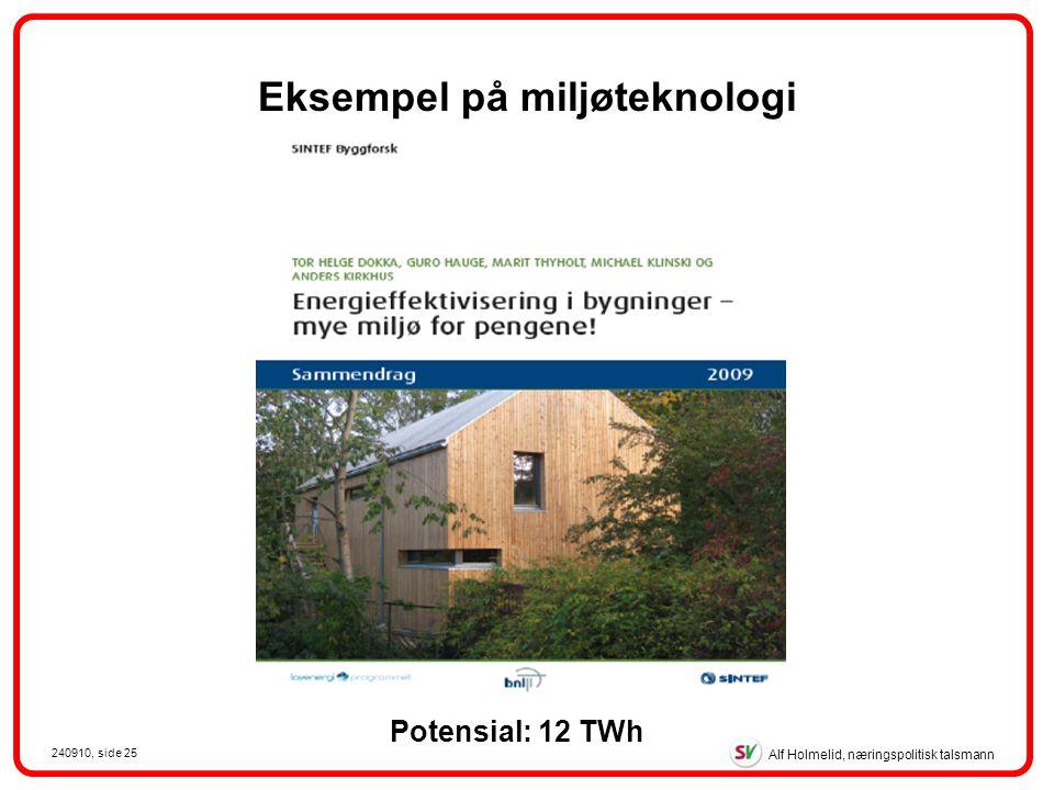 Alf Holmelid, næringspolitisk talsmann 240910, side 25 Potensial: 12 TWh Eksempel på miljøteknologi