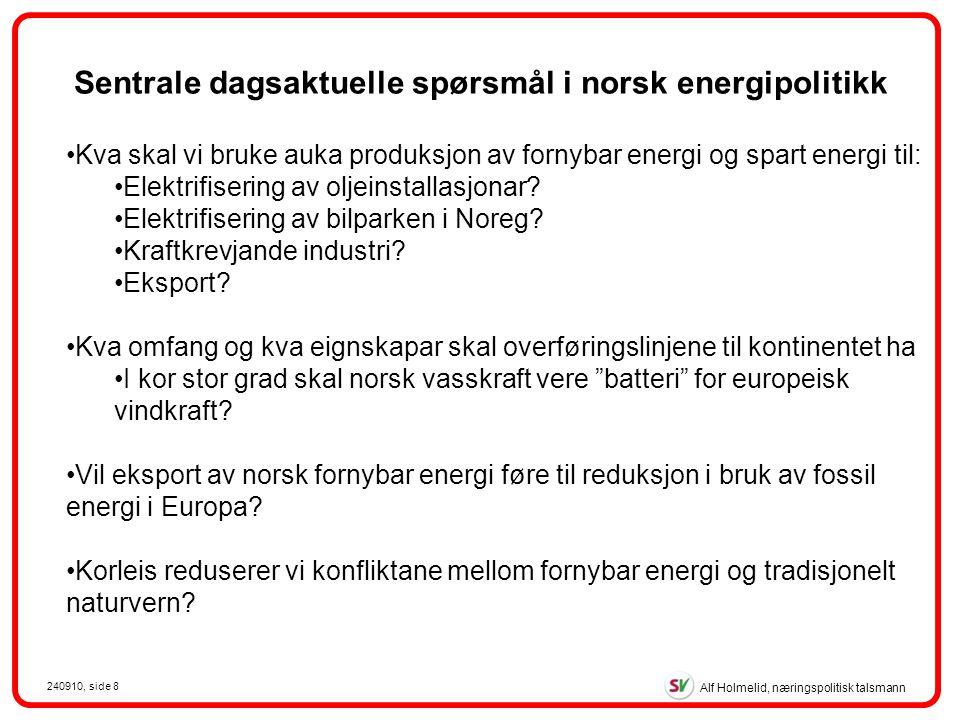 Alf Holmelid, næringspolitisk talsmann 240910, side 8 Kva skal vi bruke auka produksjon av fornybar energi og spart energi til: Elektrifisering av oljeinstallasjonar.