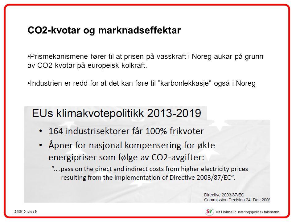 Alf Holmelid, næringspolitisk talsmann 240910, side 9 CO2-kvotar og marknadseffektar Prismekanismene fører til at prisen på vasskraft i Noreg aukar på grunn av CO2-kvotar på europeisk kolkraft.