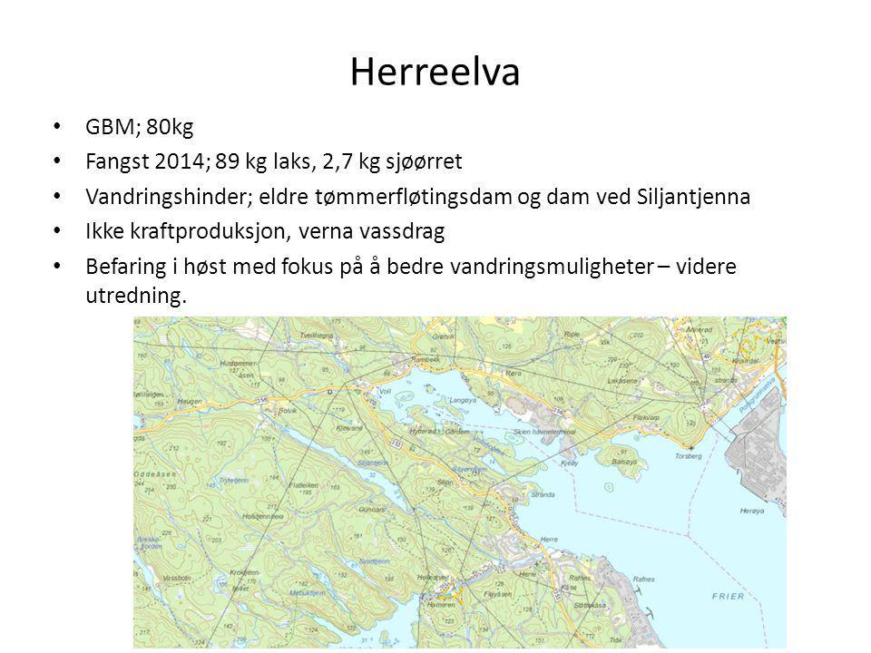 Herreelva GBM; 80kg Fangst 2014; 89 kg laks, 2,7 kg sjøørret Vandringshinder; eldre tømmerfløtingsdam og dam ved Siljantjenna Ikke kraftproduksjon, ve