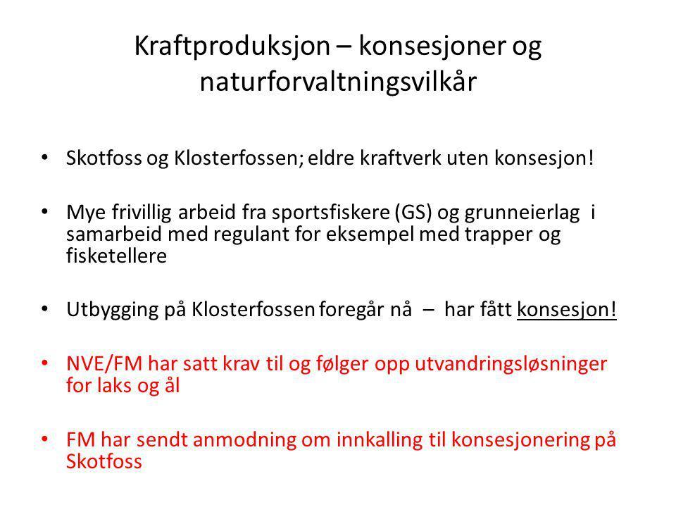 Kraftproduksjon – konsesjoner og naturforvaltningsvilkår Skotfoss og Klosterfossen; eldre kraftverk uten konsesjon! Mye frivillig arbeid fra sportsfis