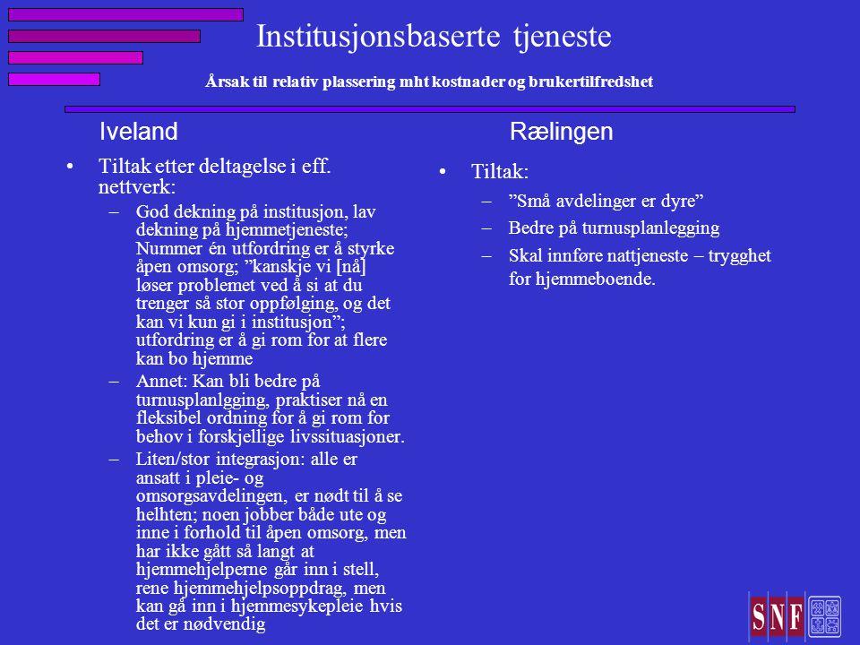 Institusjonsbaserte tjeneste Årsak til relativ plassering mht kostnader og brukertilfredshet Tiltak etter deltagelse i eff.