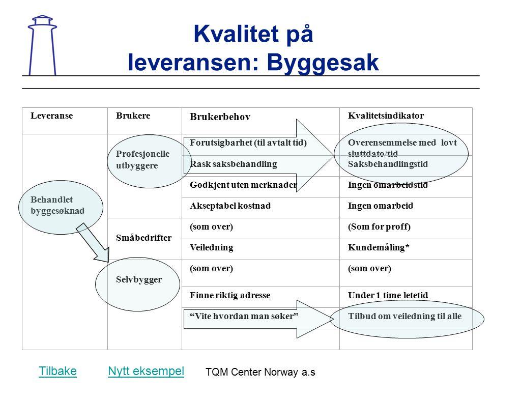 TQM Center Norway a.s Kvalitet på leveransen: Byggesak LeveranseBrukere Brukerbehov Kvalitetsindikator Behandlet byggesøknad Profesjonelle utbyggere F