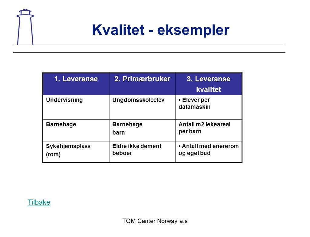 TQM Center Norway a.s Kvalitet - eksempler 1. Leveranse2. Primærbruker3. Leveranse kvalitet UndervisningUngdomsskoleelev Elever per datamaskin Barneha