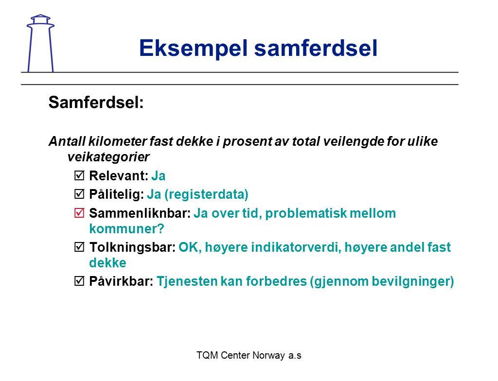 TQM Center Norway a.s Eksempel samferdsel Samferdsel: Antall kilometer fast dekke i prosent av total veilengde for ulike veikategorier  Relevant: Ja