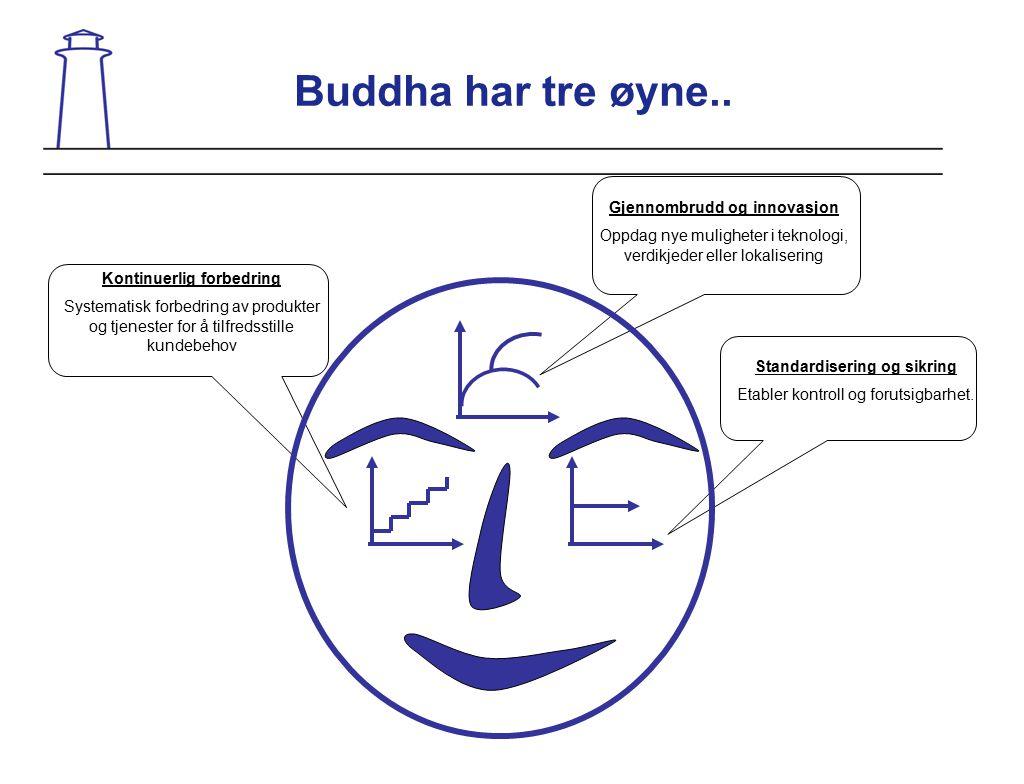 Buddha har tre øyne.. Gjennombrudd og innovasjon Oppdag nye muligheter i teknologi, verdikjeder eller lokalisering Standardisering og sikring Etabler