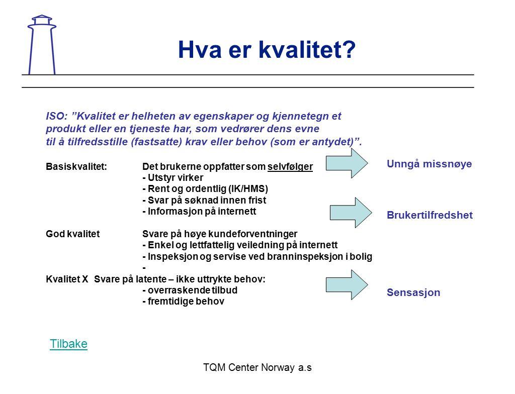 """TQM Center Norway a.s Hva er kvalitet? ISO: """"Kvalitet er helheten av egenskaper og kjennetegn et produkt eller en tjeneste har, som vedrører dens evne"""