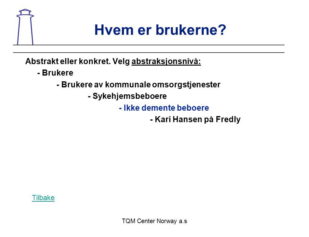 TQM Center Norway a.s Hvem er brukerne? Abstrakt eller konkret. Velg abstraksjonsnivå: - Brukere - Brukere av kommunale omsorgstjenester - Sykehjemsbe